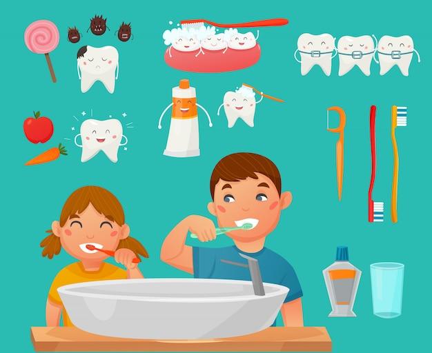 Insieme dell'icona dei bambini di spazzolatura dei denti Vettore gratuito