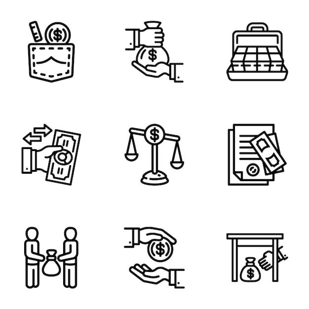 Insieme dell'icona dei soldi di affari di corruzione. delineare un insieme di 9 icone di denaro d'affari di corruzione Vettore Premium
