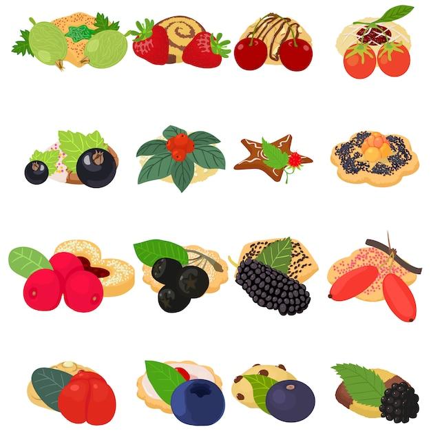 Insieme dell'icona del biscotto di frutta Vettore Premium