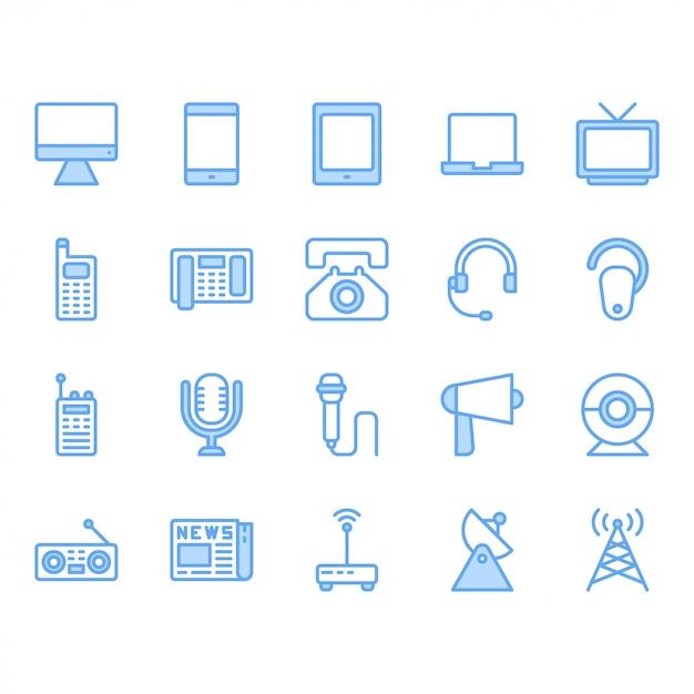 Insieme dell'icona del dispositivo di comunicazione illustrazione di vettore Vettore Premium