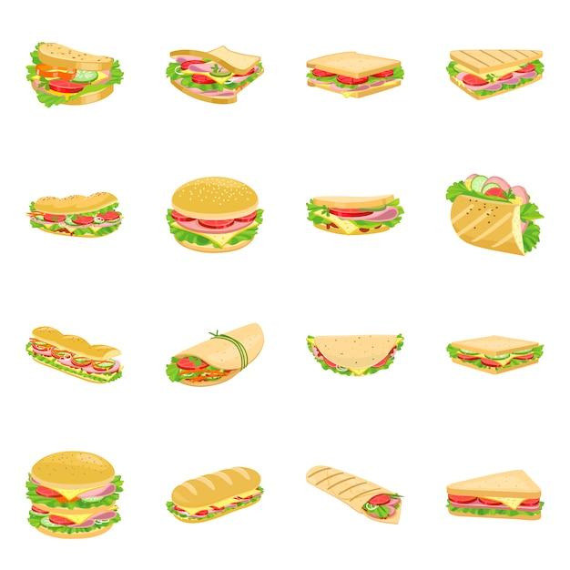Insieme dell'icona del fumetto dell'hamburger e del panino. illustrazione isolato fastfood.icon set di hamburger e ingedient. Vettore Premium