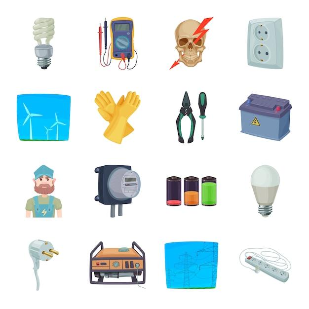 Insieme dell'icona del fumetto di elettricità. Vettore Premium