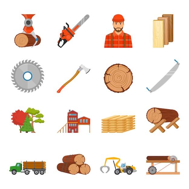 Insieme dell'icona del legname della segheria Vettore gratuito