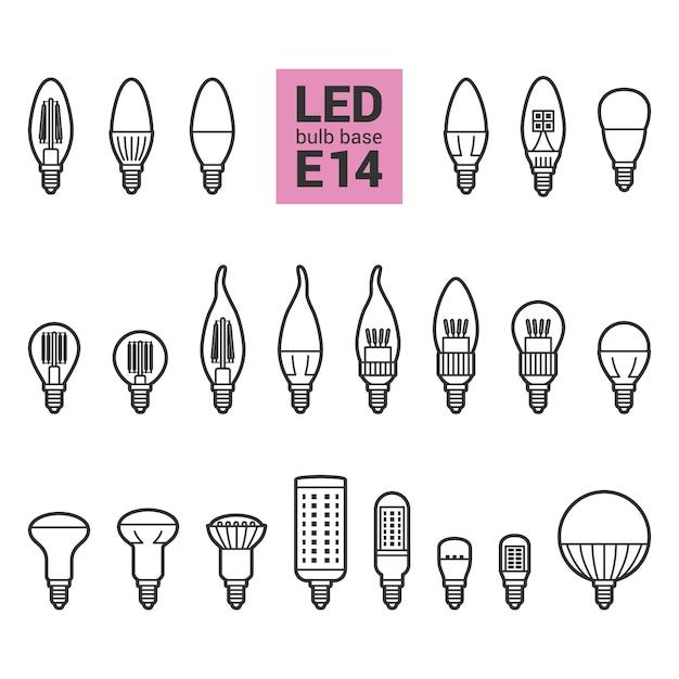 Insieme dell'icona del profilo delle lampadine della luce e14 del led Vettore Premium