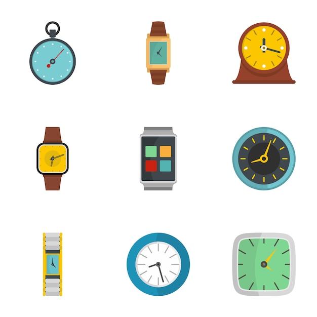 Insieme dell'icona del segnale di orologio, stile piano Vettore Premium