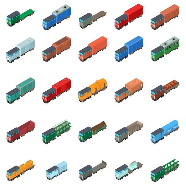 Insieme dell'icona del trasporto ferroviario Vettore Premium