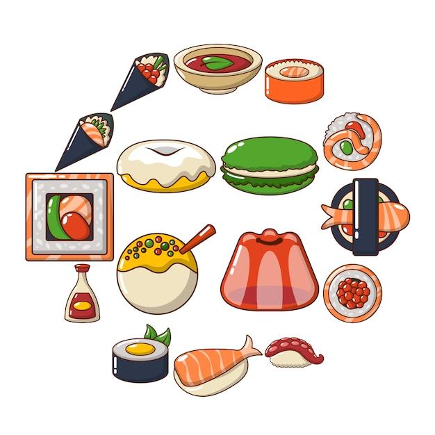 Insieme dell'icona dell'alimento del giappone, stile del fumetto Vettore Premium