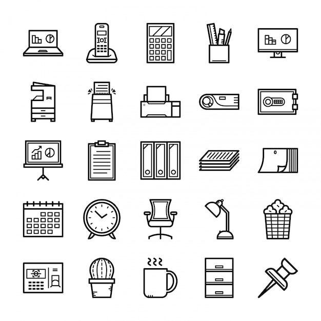 Insieme dell'icona dell'attrezzatura per ufficio, insieme dell'icona degli strumenti dell'ufficio Vettore Premium