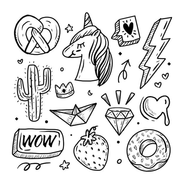 Insieme dell'icona dell'autoadesivo dell'illustrazione della mano dell'unicorno sveglio Vettore Premium