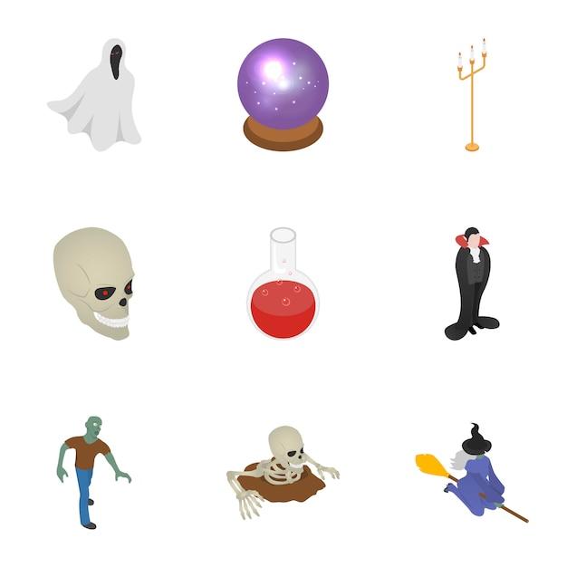 Insieme dell'icona della festa di halloween, stile isometrico Vettore Premium
