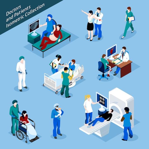 Insieme dell'icona della gente isometrica del paziente e del dottore Vettore gratuito