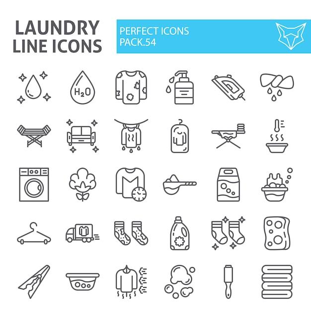 Insieme dell'icona della linea di lavanderia, raccolta di lavaggio Vettore Premium