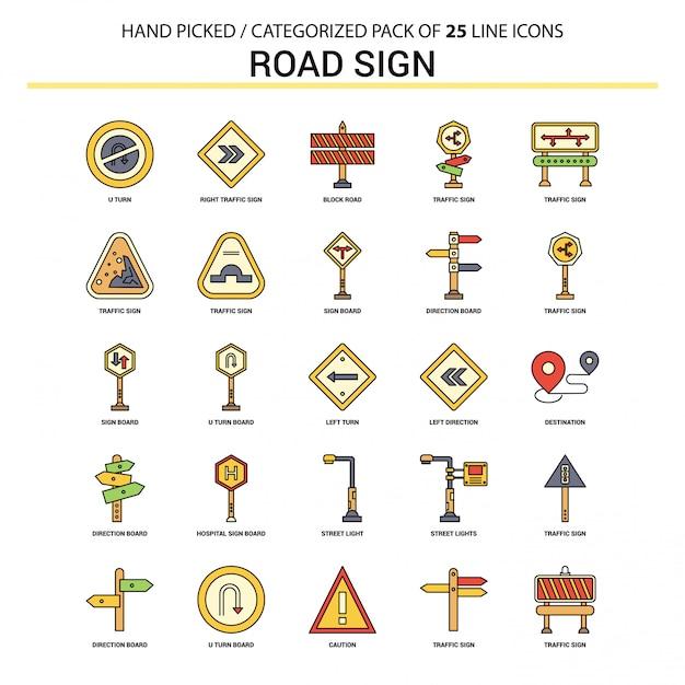 Insieme dell'icona della linea piana del segnale stradale Vettore Premium
