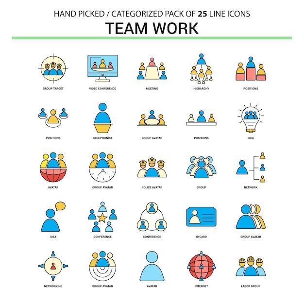 Insieme dell'icona della linea piatta del lavoro di squadra Vettore Premium