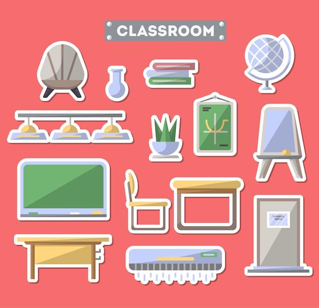 Insieme dell'icona della mobilia dell'aula della scuola Vettore Premium