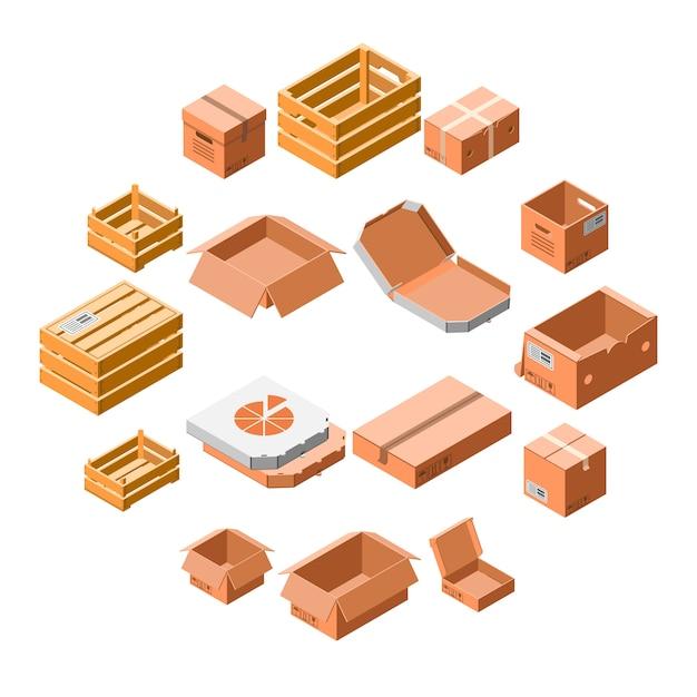 Insieme dell'icona della scatola di imballaggio, stile isometrico 3d Vettore Premium