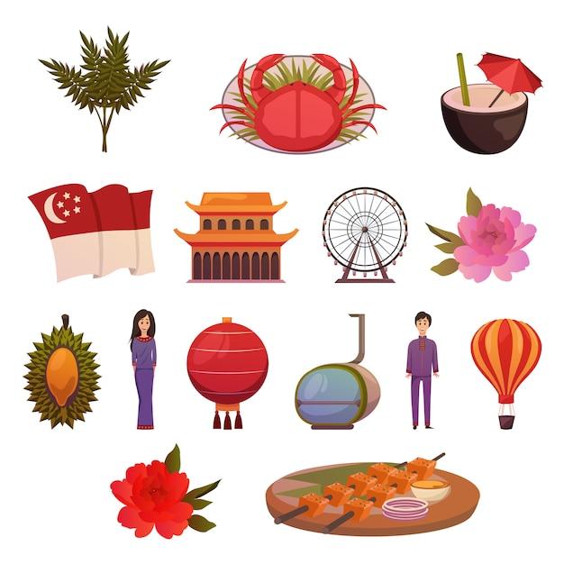 Insieme dell'icona delle attrazioni dei punti di riferimento di singapore Vettore gratuito