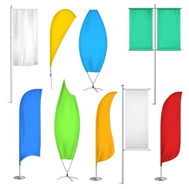 Insieme dell'icona delle bandiere e delle insegne della pubblicità Vettore gratuito