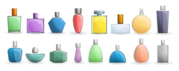 Insieme dell'icona delle bottiglie di fragranza, stile del fumetto Vettore Premium