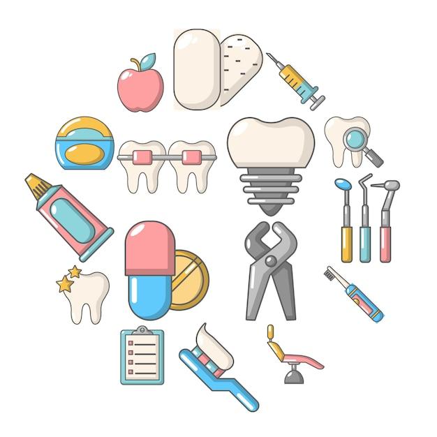 Insieme dell'icona dentale di stomatologia, stile del fumetto Vettore Premium