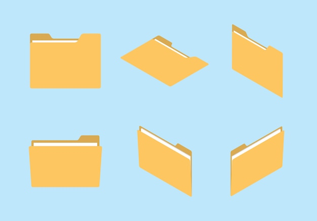 Insieme dell'icona di cartella insieme con varie forme e concetto di stile moderno appartamento isometrico Vettore Premium