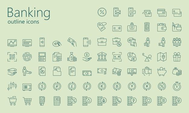 Insieme dell'icona di contorno bancario Vettore Premium