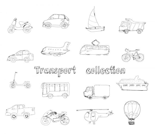 Insieme dell'icona di doodle di trasporto Vettore gratuito