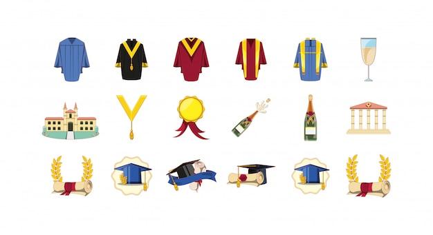 Insieme dell'icona di graduazione isolato Vettore Premium