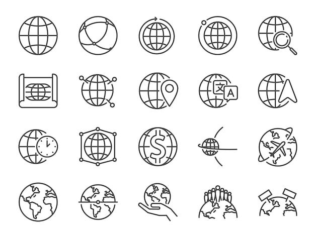Insieme dell'icona di linea del mondo. Vettore Premium