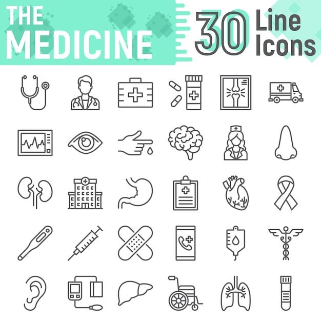 Insieme dell'icona di linea di medicina, raccolta di simboli dell'ospedale Vettore Premium