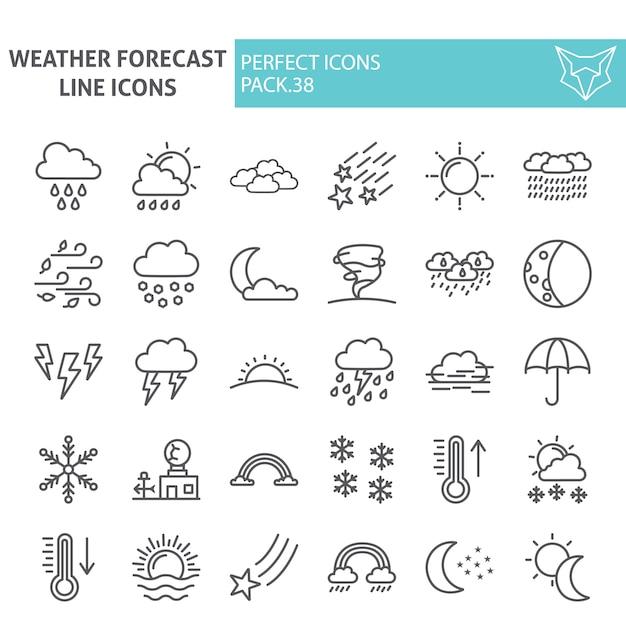 Insieme dell'icona di linea di previsioni del tempo, raccolta del clima Vettore Premium