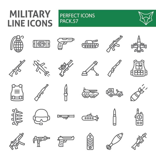Insieme dell'icona di linea militare, collezione di guerra ed esercito Vettore Premium