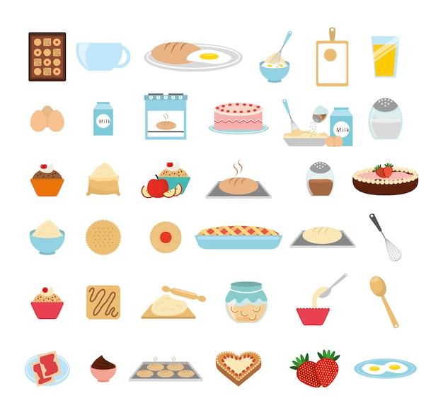 Insieme dell'icona di panetteria dolce Vettore gratuito