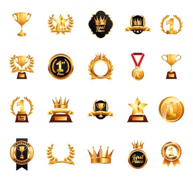 Insieme dell'icona di premi isolato Vettore gratuito