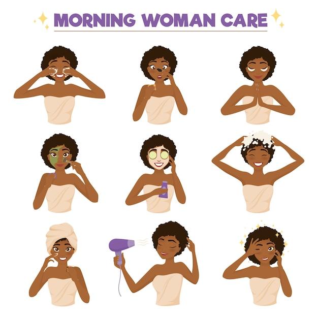 Insieme dell'icona di routine di mattina della donna afroamericana Vettore gratuito