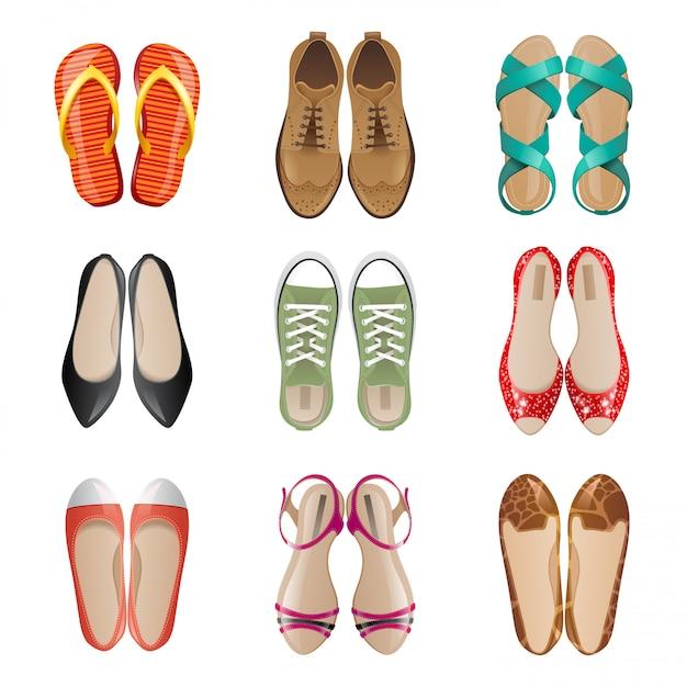Insieme dell'icona di scarpe donna Vettore Premium