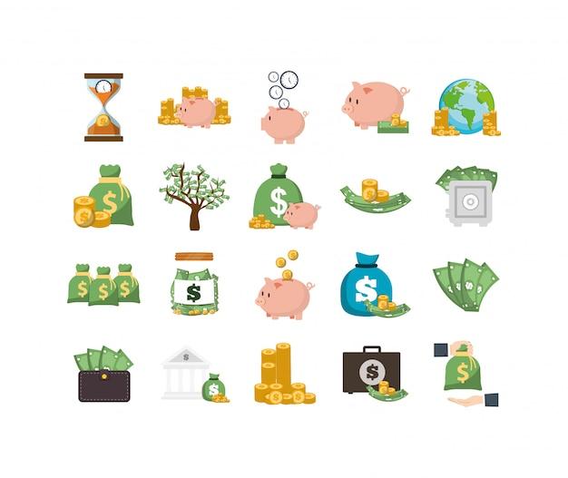 Insieme dell'icona di soldi isolato Vettore Premium
