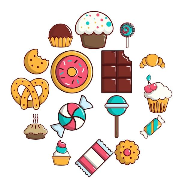 Insieme dell'icona di torte di caramelle dolci, stile del fumetto Vettore Premium