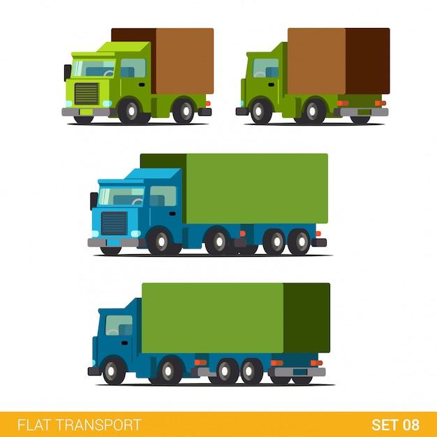 Insieme dell'icona di trasporto stradale piatto carico divertente consegna. camion van automobile vagone motore camion. Vettore gratuito