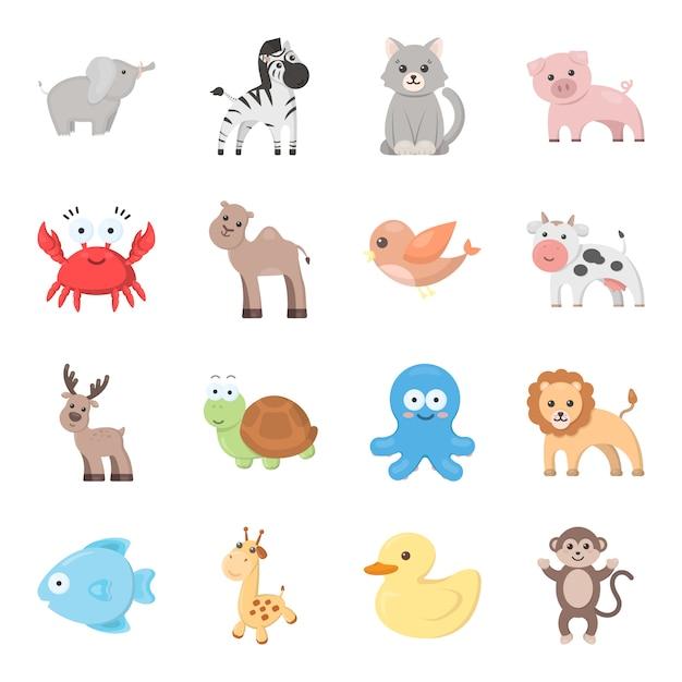 Insieme dell'icona di vettore del fumetto animale. illustrazione vettoriale di animale giocattolo. Vettore Premium