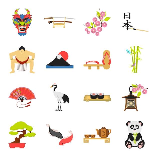 Insieme dell'icona di vettore del fumetto del giappone. illustrazione vettoriale di cultura asiatica e giapponese. Vettore Premium