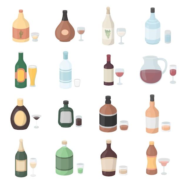 Insieme dell'icona di vettore del fumetto dell'alcool. illustrazione vettoriale bottiglia di alcol. Vettore Premium