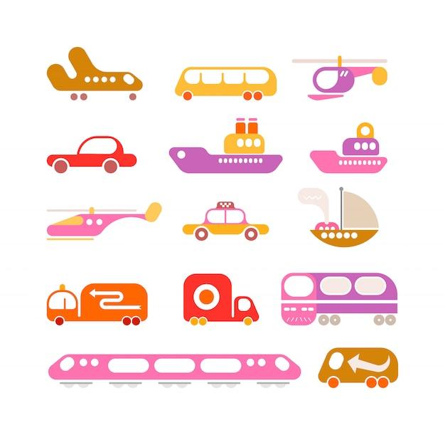 Insieme dell'icona di vettore di trasporto Vettore Premium