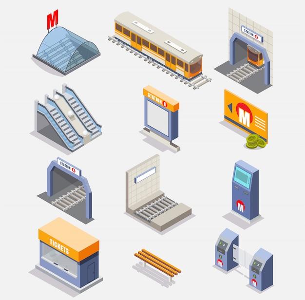 Insieme dell'icona isometrica della metropolitana o della metropolitana Vettore Premium