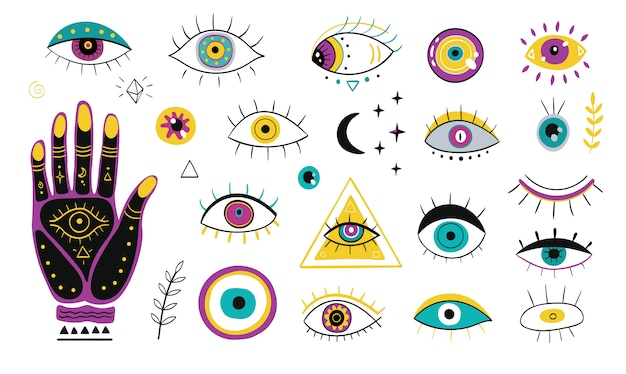 Insieme dell'icona piatto di vari occhi disegnati a mano Vettore gratuito