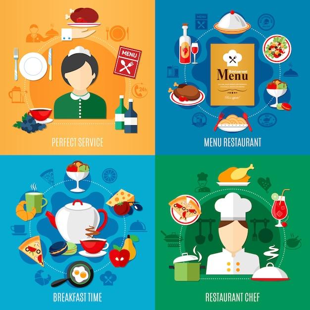 Insieme dell'illustrazione degli elementi e dei lavoratori del ristorante Vettore gratuito