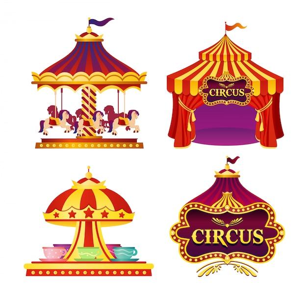Insieme dell'illustrazione degli emblemi del circo di carnevale, icone con la tenda, caroselli, bandiere su fondo bianco nei colori luminosi. Vettore Premium