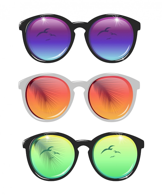 Insieme dell'illustrazione degli occhiali da sole Vettore Premium