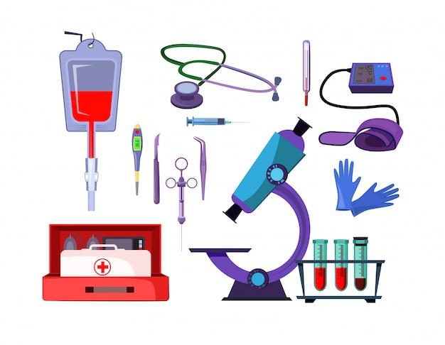 Insieme dell'illustrazione degli oggetti della medicina Vettore gratuito
