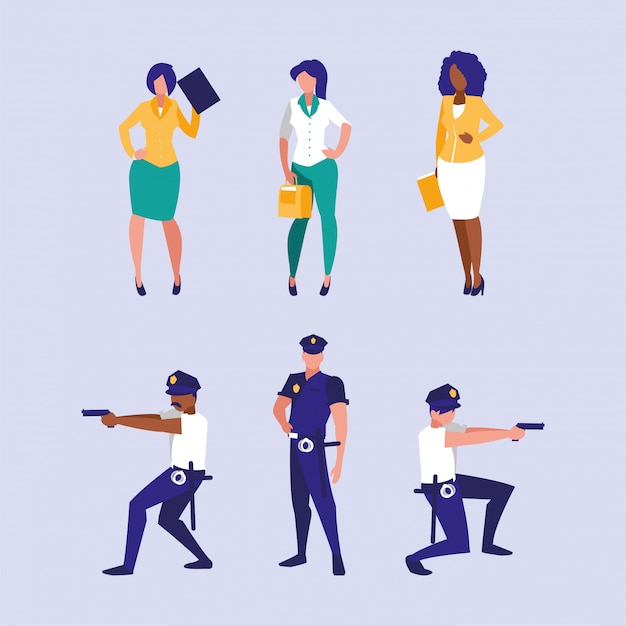 Insieme dell'illustrazione degli operai dei poliziotti e delle donne di affari Vettore Premium